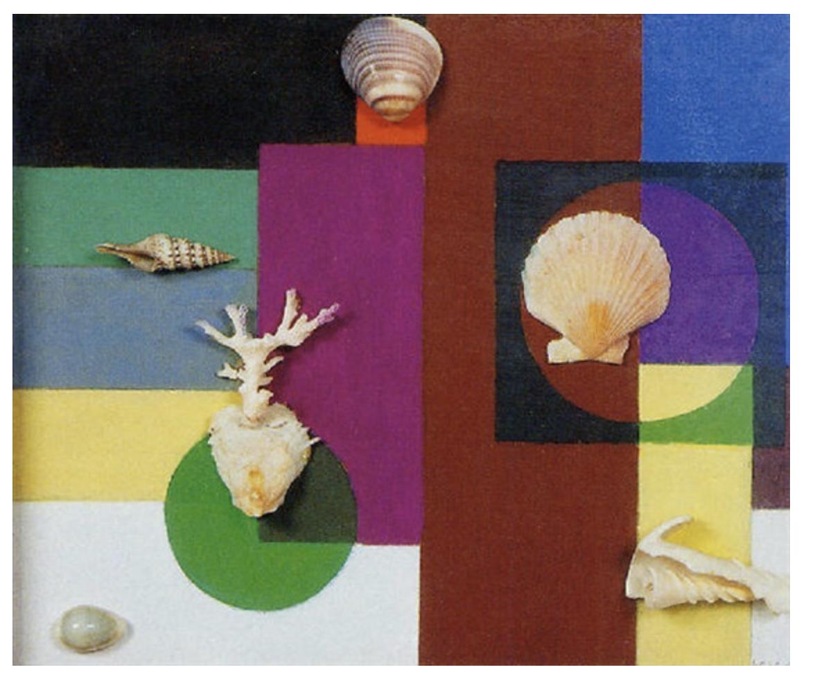 composición géometrique aux coquillages.1957